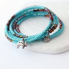 Memory Wire Wrap Bracelet  Rabbit Charm Heart Charm by Buntique