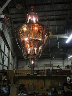 Chandelier made from bike parts.