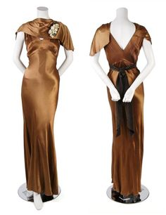 Jeanne Lanvin Bronze Satin Evening Gown, bias cut with a shawl-like neckline with a floral corsage, sash tying at back. Via Leslie Hindman Auctioneers. Vintage Outfits, Vintage Gowns, Vintage Mode, Vintage Style, Vintage Prom, Vintage Clothing, Jeanne Lanvin, 1930s Fashion, French Fashion