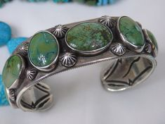 "Superior HOPI Cerrillos or Manassa TURQUOISE Stamped STERLING Silver 96G Cuff Bracelet 7"" size     Make Offer"