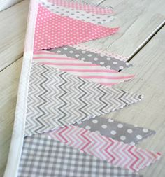 Baby Bunting Fabric Banner Fabric Flags   Light by thespottedbarn, $32.50