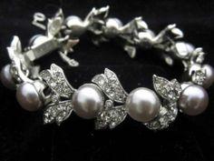 Vintage Christian Dior by Kramer of N Y Rhinestone Gray Pearl Floral Bracelet | eBay