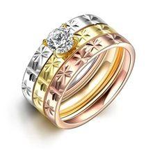 SJTGR033 Solitaire Cubic Zircon Titanium Aço White Gold & Rose Gold &…