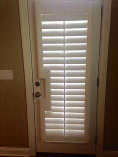 Plantation Shutters On A Glass Door. Note The Cut Out Around The Door  Handle.