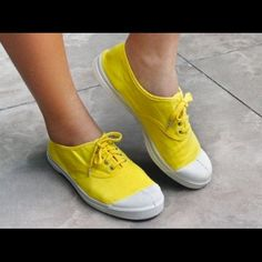 HP Bensimon Yellow Sneaks Canvas sneakers with rubber soles Bensimon Shoes Athletic Shoes