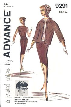 Edith Head – Dress Doctor  She designed patterns for the Vogue American Designer collection and for Advance American Designer patterns when she was at Paramount.