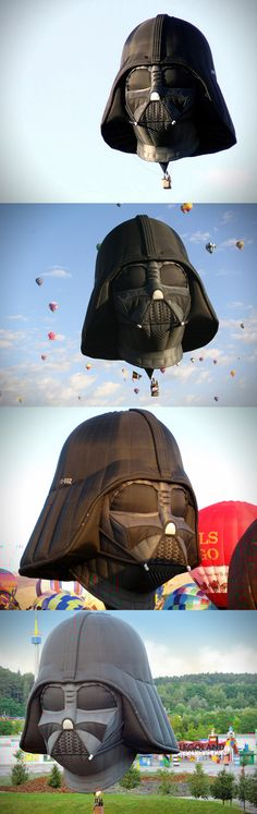 Best hot air balloon. EVER.  I would want the Imperial March blasting as loudly as possible when this thing lands!
