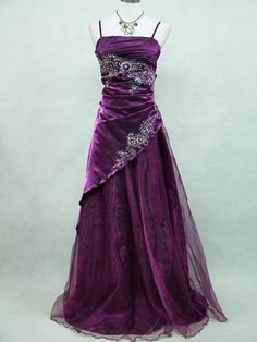 CHERLONE Plus Size Satin Dark Purple Sparkle Gown Wedding Evening Dress 18 20 | eBay