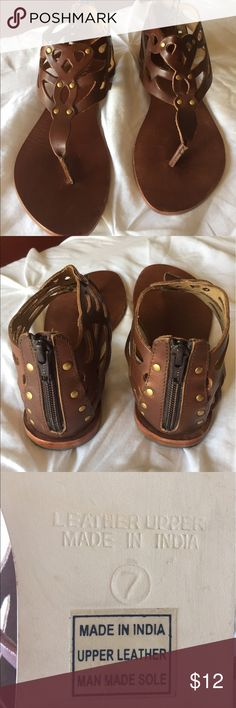 Brown leather sandals Zipper back leather patterned sandals Diba Shoes Sandals