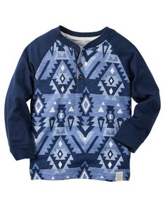 Featuring a cool geo-print, this boys' Carter's henley tee is a fun addition to his wardrobe. Baby Boy Tops, Carters Baby Boys, Carters Clothing, Boy Clothing, Clothes, Baby Boy Outfits, Kids Outfits, Boys Hoodies, Sweatshirts