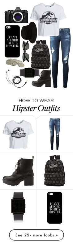 """""""Jurassic World"""" by thefangoddess on Polyvore featuring QLOCKTWO, AG Adriano Goldschmied, New Look, Charlotte Russe, Vans, Alexander Wang, Casetify and Olympus"""