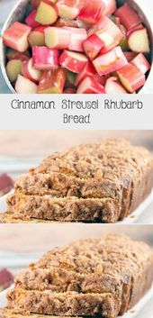 Cinnamon Streusel Rhubarb Bread: an easy one bowl quick bread jam packed with fresh rhubarb and a double dose of cinnamon streusel layered into the bread and on top. Rhubarb Oatmeal Bars, Blueberry Rhubarb Pie, Rhubarb Bread, Rhubarb Cake, Artisan Bread Recipes, Quick Bread Recipes, Bread Jam, No Rise Bread, Rhubarb Recipes