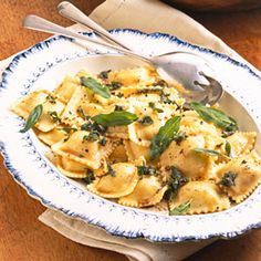 Crispy fried fresh sage leaves make a delicious garnish for this meatless main dish. The cheese ravioli is coated with a simple sauce of melted butter and fresh sage and thyme.