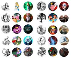 Old and new Alice in Wonderland bottle cap images