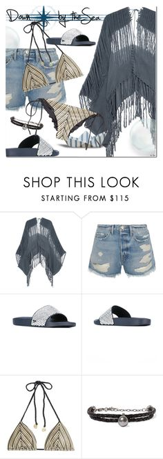 """""""DOWN BY THE SEA"""" by deneve ❤ liked on Polyvore featuring Caravana, Frame, Salvatore Ferragamo, Luli Fama, Chan Luu, summerstyle and beachwear"""