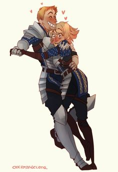 Dragon Age: Origins || Alistair/Warden. He's so happy and she's so alarmed. Why would you be alarmed to be smothered by Alistair's love? Come ON, woman.