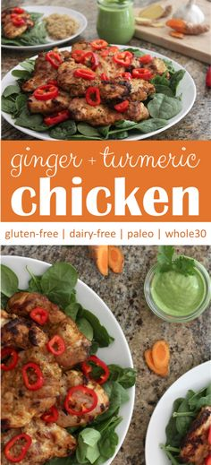 This ginger turmeric chicken is my family's favorite grilled chicken recipe! The simple, dairy-free marinade is incredibly flavorful but yet not spicy! #whole30 #glutenfree #dairyfree #grilledchicken #turmeric