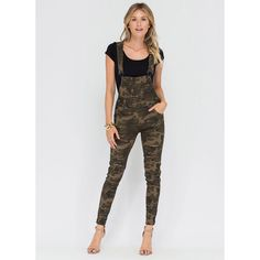 GREEN Military Mood Distressed Camo Overalls ($35) ❤ liked on Polyvore featuring jumpsuits, green, green jumpsuit, print jumpsuit, distressed overalls, camo bib overalls and camouflage jumpsuit