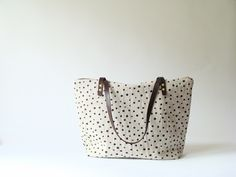 Black Polka Dots Zip Tote | BRIKA - A Well-Crafted Life