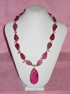 Lady Luck Gems- Pink Agate necklace and earring set