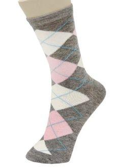 Classic Argyle Crew Cut Novelty Socks 6 Pairs Assorted Colors Size 9-11 Yelete. $13.99