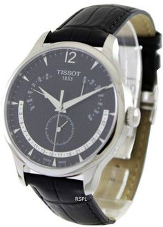 Tissot Tradition Perpetual Calendar Men's Watch Features: Stainless Steel Case Black Leather Strap Quartz Movement Caliber Sapphire Crystal Black Dial Perpetual Calendar Buckle Clasp Water Resistance Approximate Case Diameter Approximate Case Thickness Perpetual Calendar, Stainless Steel Case, Omega Watch, Watches For Men, Black Leather, Quartz, Traditional, Sapphire, Accessories