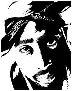 Tupac Shakur Crochet Graphghan Pattern (Chart/Graph AND Row-by-Row Written Instructions) - 04 Arte Hip Hop, Hip Hop Art, Tupac Art, Pumpkin Drawing, Skull Girl Tattoo, Black Art, Black And White, Laser Cut Stencils, Rapper Art