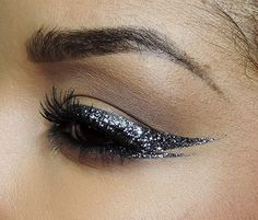 Saturday night makeup inspo: glitter liner for a glam look! #beauty #glitter…