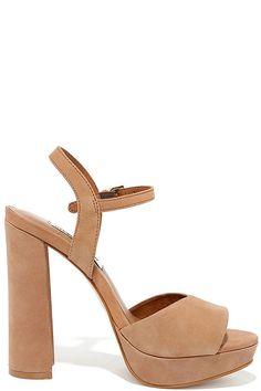 bec1c0c3629a Let the Steve Madden Kierra Camel Nubuck Leather Platform Heels take your  look up a level