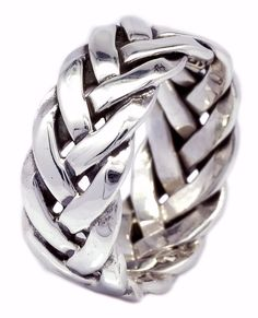 8mm Thailand Artisan Handcraft Braid Band Ring in 925 Sterling Silver [ISR0030] #BKGjewelry #Band