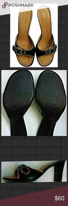 32d9d3db9572 Womens COACH A8172 Daryn Black Slide Heel NWOB. Womens COACH A8172 Daryn  Black Slide Heel