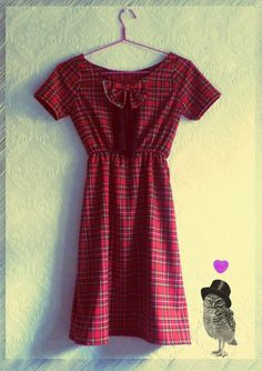 Scottish checked lovely dress with bow by MyNameIsSueclothes, €50.00