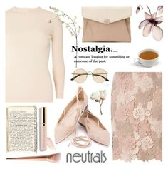 """""""Cool Neutrals"""" by helenevlacho ❤ liked on Polyvore featuring Dorothy Perkins, The Row, Miss Selfridge, Beautycounter, neutral and contestentry"""
