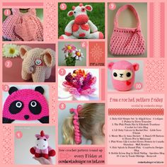 Free Patterns Crocheted in the Color Pink! - https://oombawkadesigncrochet.com/2014/02/free-crochet-pattern-friday-colour-pink.html