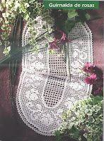 Филейное вязание: Овальная дорожка с розами