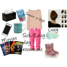 """""""Sick/Lazy day essentials"""" by emilybrinks on Polyvore"""