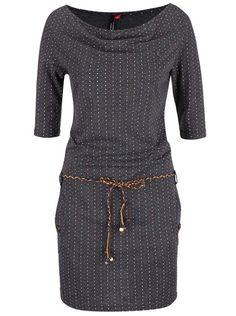 Růžovo-šedé puntíkované šaty s páskem Ragwear Tanya Dots