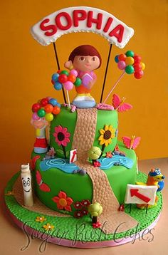 Dora birthday cake - little lady loving the Dora right now. This would work with cake pick characters as well as icing ones I think...