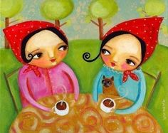 TEA PARTY siamese cat joins in PRINT of painting 10x8 by tascha