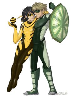 Adrinette Month Day 3: Miraculous Switched I'm always an hour late for these prompts lol I'm weak for character designs and since I already made another kwami swap, I decided to try a design with these kwami, so here are Bee!Mari and Turtle!Adrien...