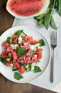 easy summer watermelon salad with mint, feta cheese &  cucumbers (vegetarian) | superman cooks