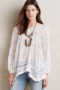 Fringed Silk Peasant Top #anthropologie $480.00!  Why, Anthro, why?
