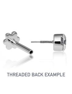 2mm Invisible Set Diamond Threaded Stud (Helix) - WHITE GOLD\6.5MM Image #5