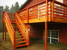 Decoration, Gorgeous Natural Wooden Staircase Design With Horizontal Deck Railing Design Of A Home With Reddish Wooden Deckwall With Bar Windows ~ Horizontal Deck Railing Embraces Every Outdoor Living with Natural Look