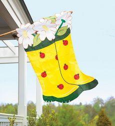 Heavy-Duty Nylon Appliqué Garden Boots And Ladybugs House Flag Ladybug House, Garden Boots, Flag Decor, House Flags, Ladybugs, Outdoor Furniture, Outdoor Decor, Hearth, Outdoor Gardens