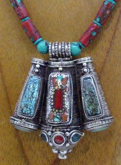 Tibetan Qazi amulet necklace by SilkRoadJewelry