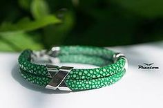 Green Stingray Leather Bracelet 135 USD. Attractive and stylish bracelet, made from green stingray leather and sterling silver. #jewelry #leatherbracelet #phantom #stingraybracelet #silver #handcrafted #beautiful #bracelet
