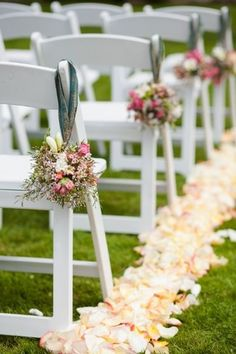 Pretty aisle with flowers & petals