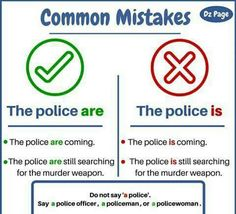The police are. Advanced English Grammar, English Grammar Rules, English Writing Skills, English Sentences, English Vocabulary Words, Learn English Words, English Phrases, English Idioms, English Study