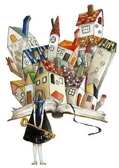 Los libros son la clave/books hold the key Art And Illustration, I Love Books, Books To Read, My Books, Book City, Reading Art, World Of Books, Whimsical Art, Book Lovers